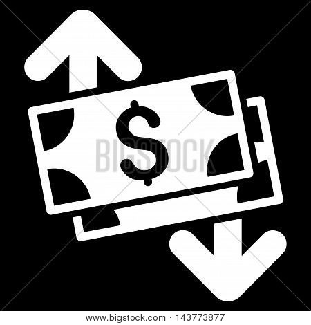 Banknotes Spending icon. Vector style is flat iconic symbol with rounded angles, white color, black background.