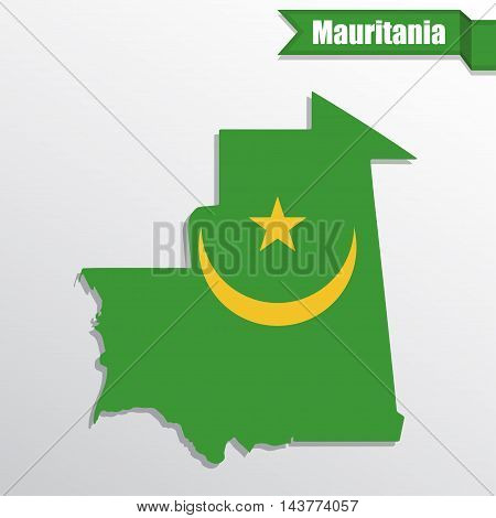Mauritania map with flag inside and ribbon