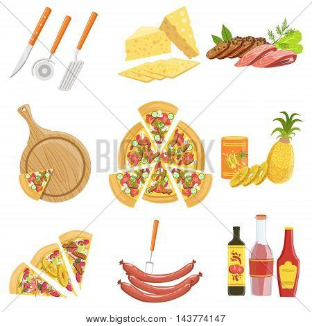 Pizza Ingredients And Cooking Utensils Collection. Vector Illustration In Realistic Simplified Style. Isolated Objects On White Background.