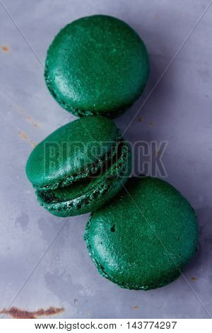 Traditional French Sweets. Emerald Green Macaroon On A Metal Tra
