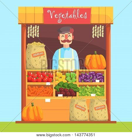 Vendor Behind Market Counter With Assortment Of Vegetables. Bright Color Graphic Cool Flat Vector Detailed Illustration.