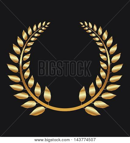 Golden Laurel wreath on black background vector illustration