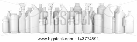 Plastic detergent bottles in a row. 3d illustration on a white background.