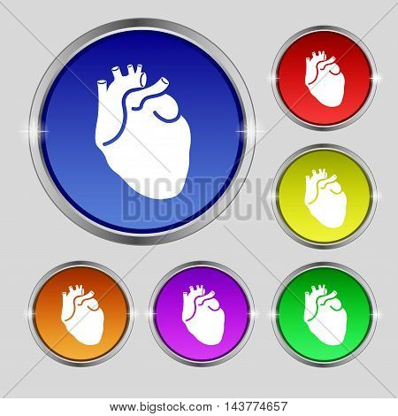 Human Heart Icon Sign. Round Symbol On Bright Colourful Buttons. Vector