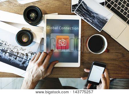 Digital Media Connection Camera Icon Concept