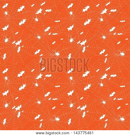 Background for Halloween. Bats and spiders on the web. Seamless patern