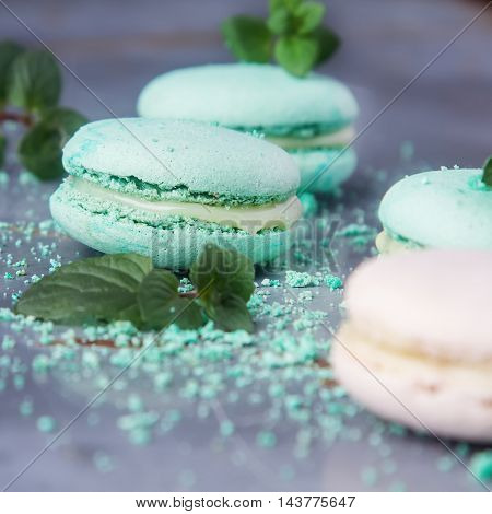 Traditional French Sweets. Green Macaroon With Mint On A Metal T