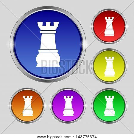 Chess Rook Icon Sign. Round Symbol On Bright Colourful Buttons. Vector