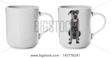 Coffee cup with photo of cute dog isolated on white
