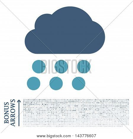 Rain Cloud icon with 1200 bonus arrow and navigation pictograms. Vector illustration style is flat iconic bicolor symbols, cyan and blue colors, white background.