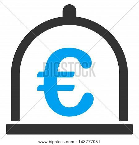Euro Storage icon. Vector style is bicolor flat iconic symbol with rounded angles, blue and gray colors, white background.