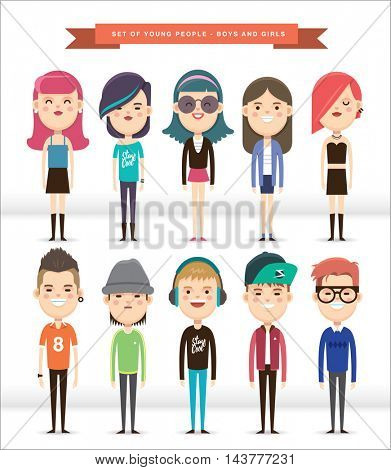 Set of 10 young people in cartoon character