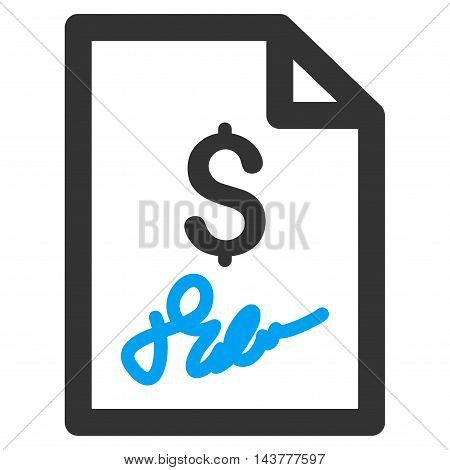 Invoice Page icon. Vector style is bicolor flat iconic symbol with rounded angles, blue and gray colors, white background.