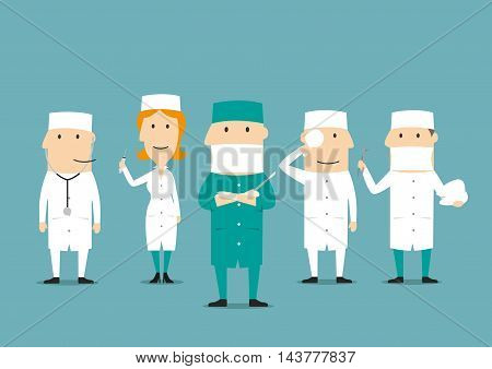 Medical professions. Medicine occupation human characters. Doctor, dentist, surgeon, nurse, ophthalmologist, cardiologist otolaryngologist therapist urologist assistant in hospital uniform