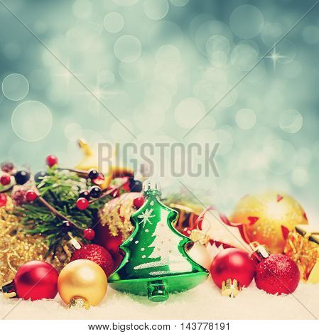 Christmas Background with Bokeh Sparkle. Decoration Border on White Snow