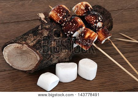 Toasted marshmallow treats on wooden sticks on an old log over oak wood background.