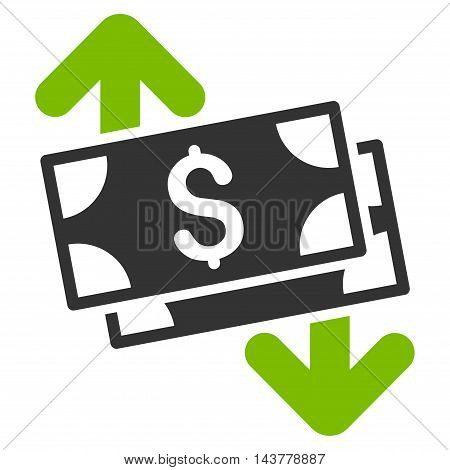 Banknotes Spending icon. Vector style is bicolor flat iconic symbol with rounded angles, eco green and gray colors, white background.