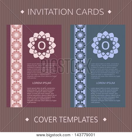Set of two vector cards. Greek design vector template.
