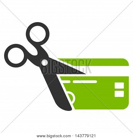 Cut Credit Card icon. Vector style is bicolor flat iconic symbol with rounded angles, eco green and gray colors, white background.