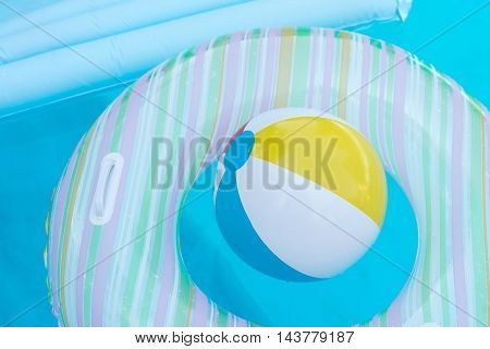Rubber Ring And Ball Underwater
