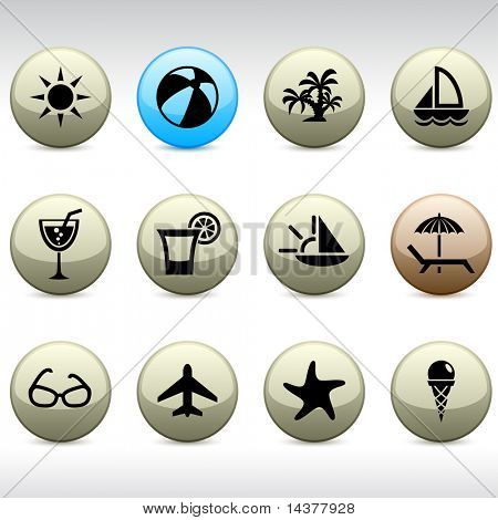 Vacations set of round glossy icons.