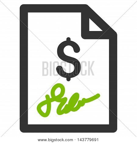 Invoice Page icon. Vector style is bicolor flat iconic symbol with rounded angles, eco green and gray colors, white background.