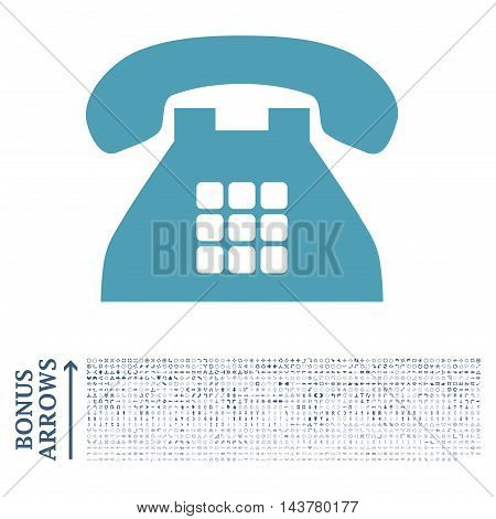 Tone Phone icon with 1200 bonus arrow and direction pictograms. Vector illustration style is flat iconic bicolor symbols, cyan and blue colors, white background.