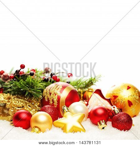 Christmas Decoration Border Isolated. Christmas Card Background with Xmas Red and Gold Ball Snow and Christmas Fir Twig