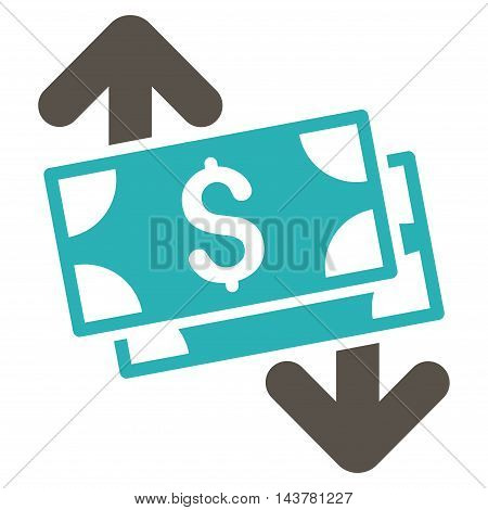 Banknotes Spending icon. Vector style is bicolor flat iconic symbol with rounded angles, grey and cyan colors, white background.