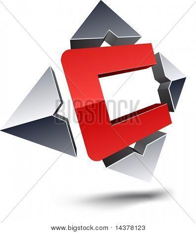 """Illustration of """"C"""" 3d design element."""