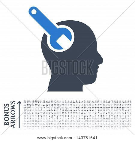 Brain Tool icon with 1200 bonus arrow and navigation pictograms. Vector illustration style is flat iconic bicolor symbols, smooth blue colors, white background.
