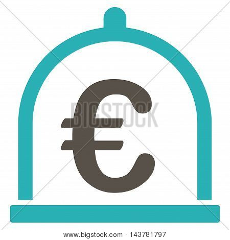 Euro Storage icon. Vector style is bicolor flat iconic symbol with rounded angles, grey and cyan colors, white background.