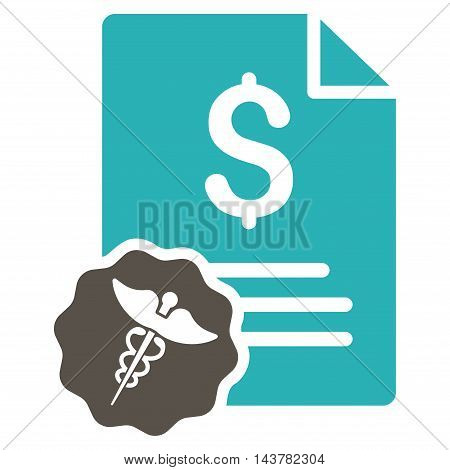 Medical Invoice icon. Vector style is bicolor flat iconic symbol with rounded angles, grey and cyan colors, white background.