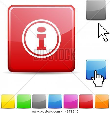 Info glossy vibrant web icon.