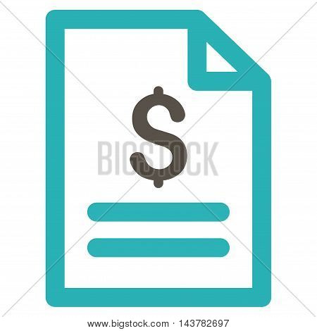 Price List icon. Vector style is bicolor flat iconic symbol with rounded angles, grey and cyan colors, white background.