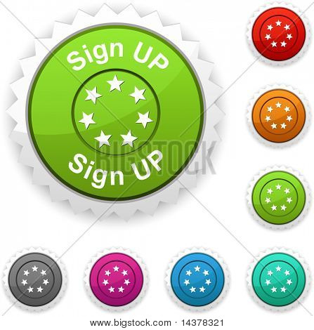 Sign up award button. Vector.