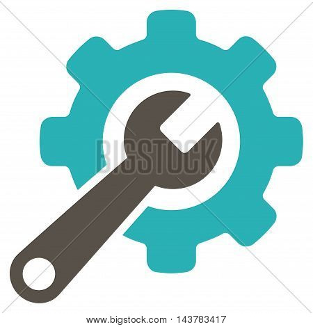 Tools icon. Vector style is bicolor flat iconic symbol with rounded angles, grey and cyan colors, white background.