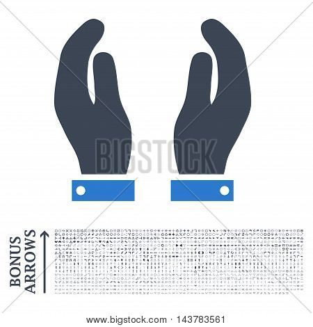 Care Hands icon with 1200 bonus arrow and direction pictograms. Vector illustration style is flat iconic bicolor symbols, smooth blue colors, white background.