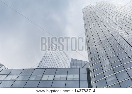 Modern office buildings from steel and glass