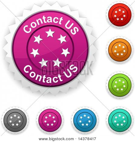 Contact us award button. Vector.