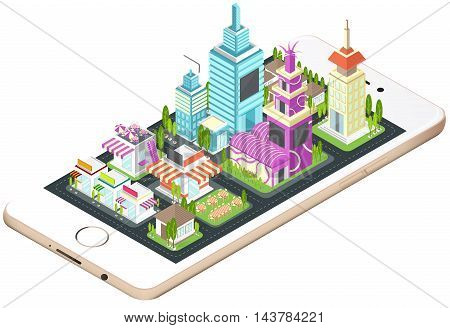 Building house commercial build and cityscape architecture on a smart phone mobile screen with network technology application concept in 3D isometric design in isolated background create by vector