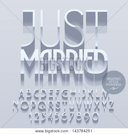 Set of slim reflective alphabet letters, numbers and punctuation symbols. Vector platinum greeting card with text Just married. File contains graphic styles