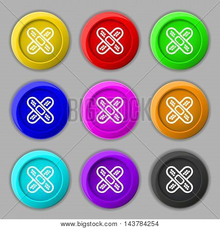 Adhesive Plaster Icon Sign. Symbol On Nine Round Colourful Buttons. Vector