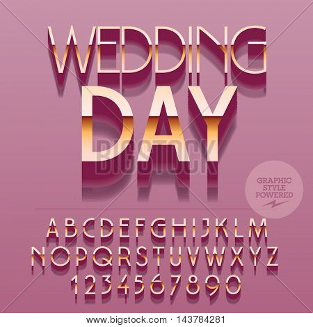 Set of glossy golden alphabet letters, numbers and punctuation symbols. Vector reflective card with text Wedding day. File contains graphic styles
