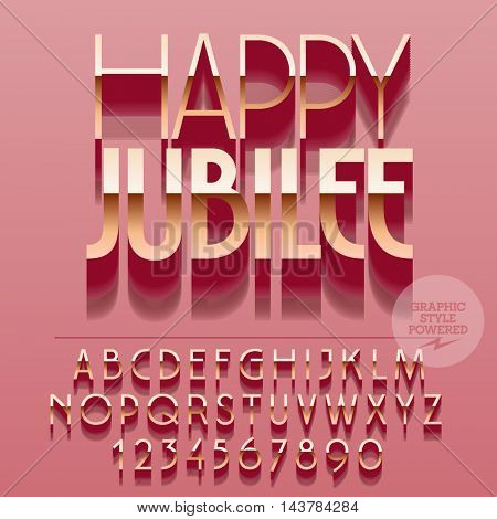 Set of slim glossy golden alphabet letters, numbers and punctuation symbols. Vector reflective greeting card with text Happy jubilee. File contains graphic styles