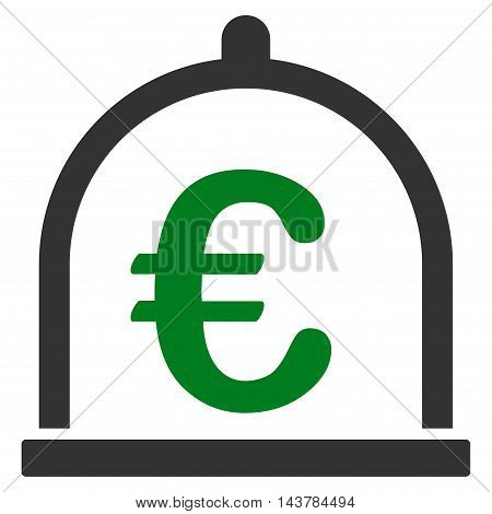 Euro Storage icon. Vector style is bicolor flat iconic symbol with rounded angles, green and gray colors, white background.
