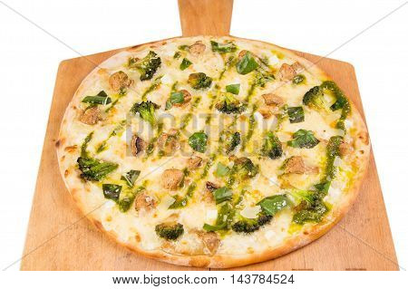 hot pizza with broccoli, mushrooms and basil isolated on white background