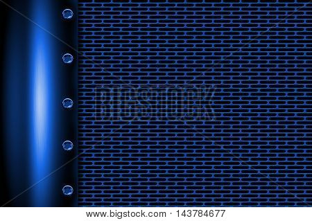 blue metal background with rivet on gray metallic mesh. background and texture 3d illustration.