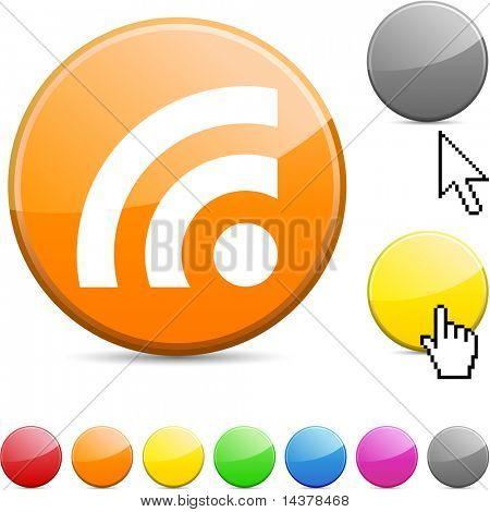 Rss glossy vibrant round icon.