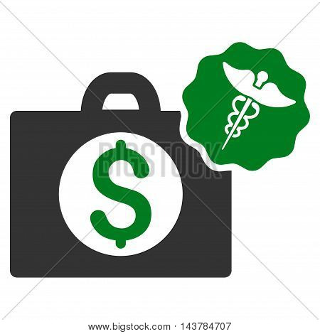 Medical Business icon. Vector style is bicolor flat iconic symbol with rounded angles, green and gray colors, white background.